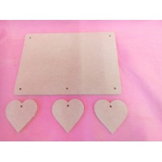 4mm Thick MDF Plaque  rounded corners With Hearts  180mm wide